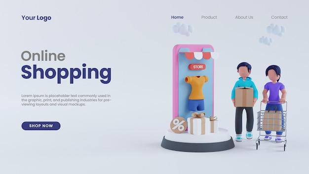 3d визуализация мужчина и женщина интернет-магазины на экране телефона концепция целевой страницы psd шаблон
