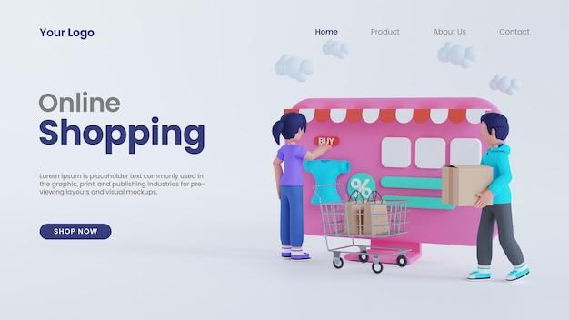 コンピューター画面のコンセプトのランディングページpsdテンプレートを使用した3dレンダリングの男性と女性のオンラインショッピング