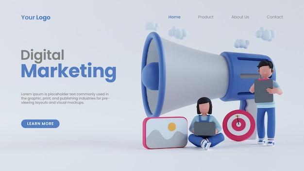 확성기 온라인 디지털 마케팅 개념 방문 페이지 psd 템플릿을 가진 3d 렌더링 남자와 여자