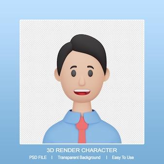 3d 렌더링 남자 만화 아바타