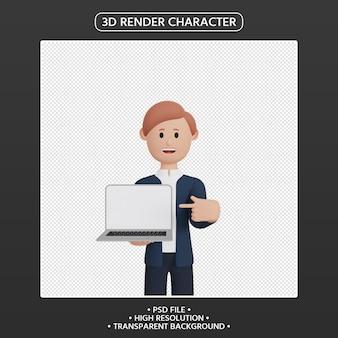 3d визуализация человек мультипликационный персонаж, указывая вверх ноутбук