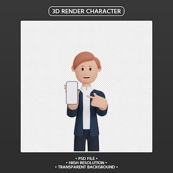 스마트폰을 가리키는 3d 렌더링 남자 만화 캐릭터
