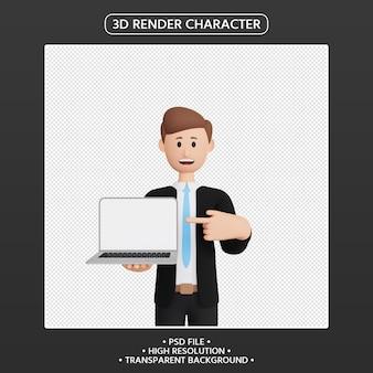 노트북을 가리키는 3d 렌더링 남자 캐릭터