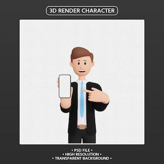 스마트폰을 가리키는 3d 렌더링 남자 캐릭터
