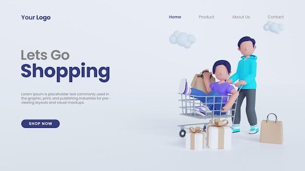 3d визуализация мужчина держит тележку с женщиной, позволяет идти по магазинам концепция целевой страницы psd шаблон