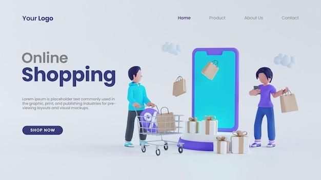 3d визуализация мужчина с тележкой и персонаж женщины, концепция интернет-магазина, целевая страница, psd шаблон