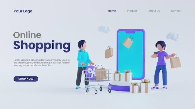 3d render man with cart and woman character online shopping concept landing page psd template