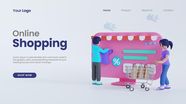 3d render man and woman online shopping on pc computer screen concept landing page psd template