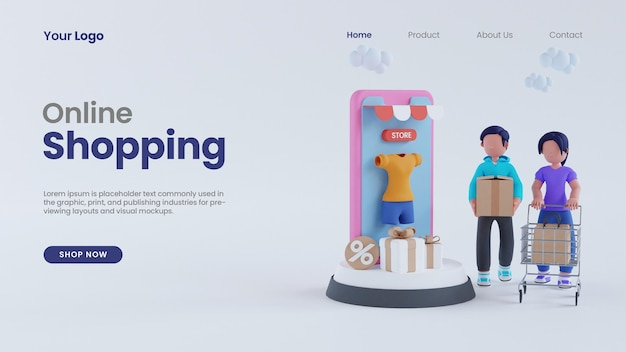 3d render man and woman online shopping on phone screen concept landing page psd template