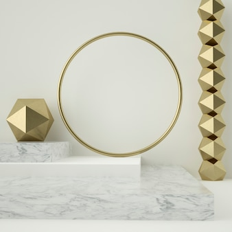 3d render of marble pedestals and golden ornaments