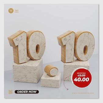 흰색 배경 개념 할인 3d 렌더링 대리석 10 10