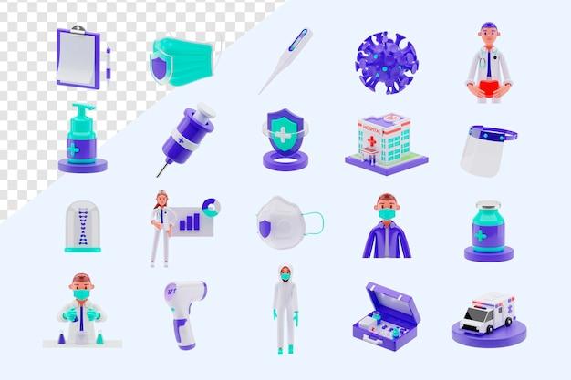 Набор объектов медицинского оборудования 3d рендеринга