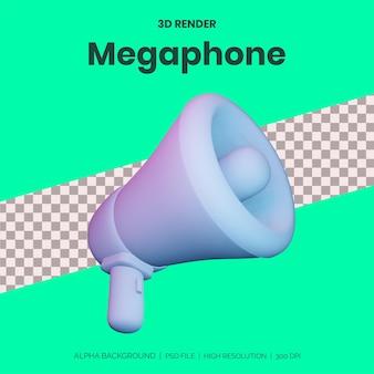 広告デザインのモックアップ用の3dレンダリングメガホン