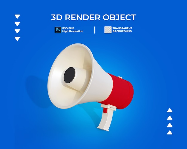 3d render of megaphone icon isolated