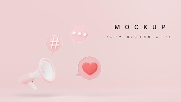 3d render of megaphone with speech bubble and copy space for mock up and web banner