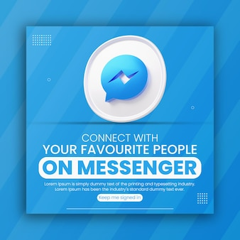 3d render messenger icon business promotion for social media post design template