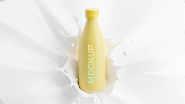 3d render of milk bottle with splash for mockup branding
