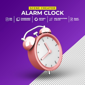 3d render minimalist alarm clock scene creator template
