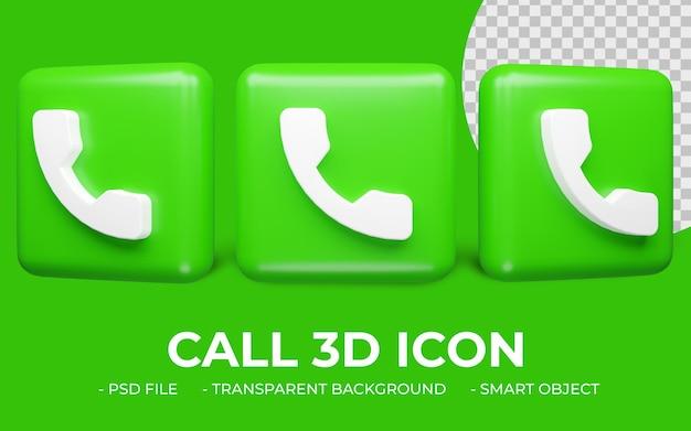 3d 렌더링 휴대 전화 또는 전화 아이콘 디자인