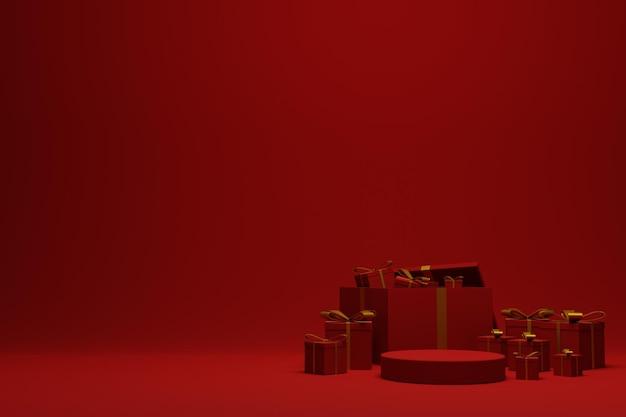 제품 프리젠 테이션을위한 3d 렌더링 현대 빨간 크리스마스 연단 장면 배경