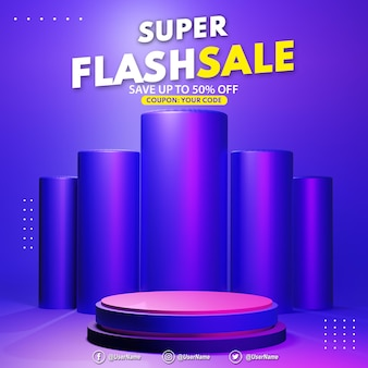 3d render modern violet podium flash sale display for product presentation placement