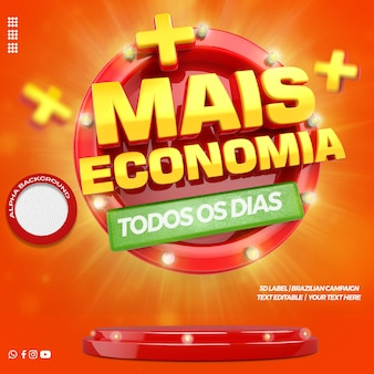 3d render more savings front for general stores campaign in portuguese