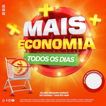 3d render more savings with shopping cart for general stores campaign in portuguese Premium Psd