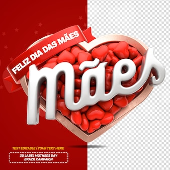 3d render mothers month with heart for campaign in brazil Premium Psd