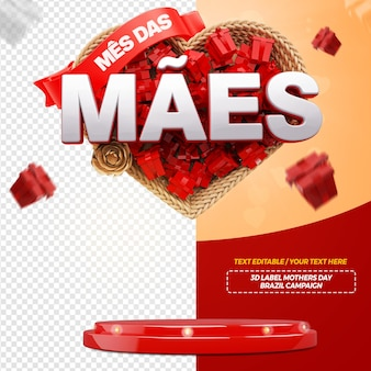 3d render mothers month with heart for campaign in brazil