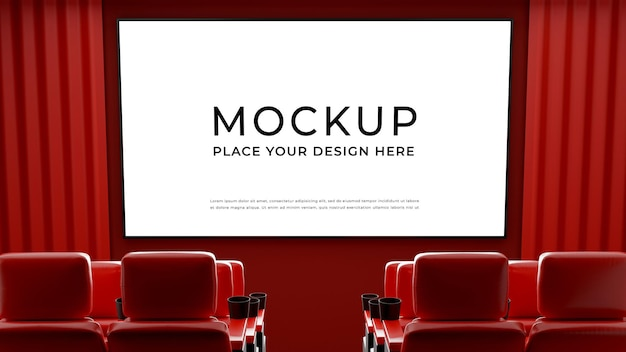 3d render of movie theater with monitor Premium Psd