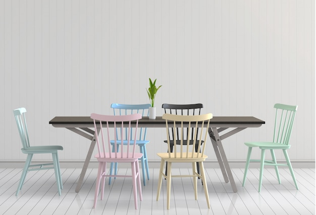 3d render of neutral interior with table chairs empty wall background.