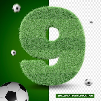 3d render nine in grass for sports composition