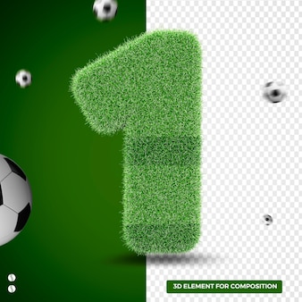 3d render number one in grass for sports composition