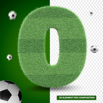 3d render number zero in grass for sports composition