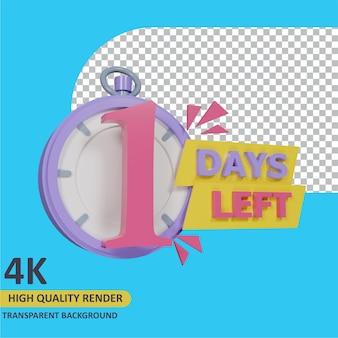 3d render object modeling coutdown 1 days left stopwatch badge design