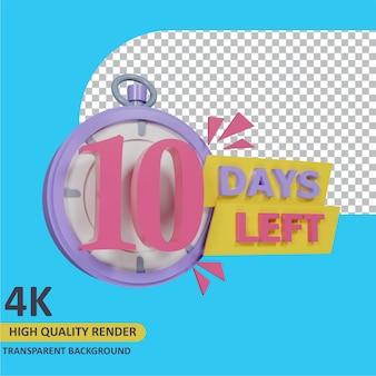3d render object modeling coutdown 10 days left stopwatch badge design