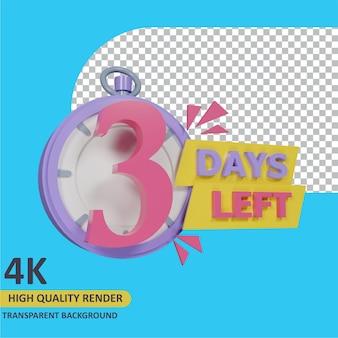 3d render object modeling coutdown 3 days left stopwatch badge design