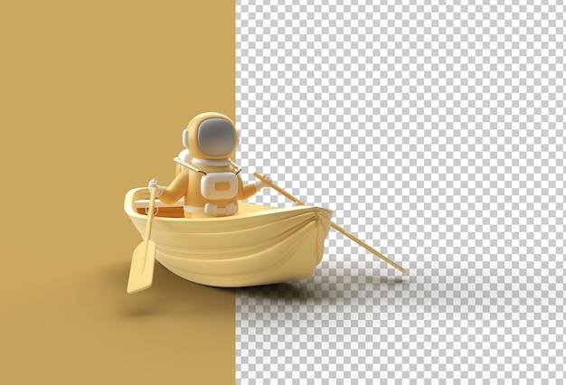 ボートでの宇宙飛行士の楽しみの3dレンダリング