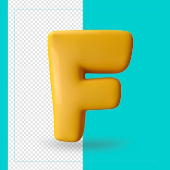 알파벳 문자 f의 3d 렌더링