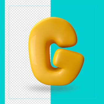 알파벳 문자 g의 3d 렌더링