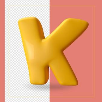 알파벳 문자 k의 3d 렌더링