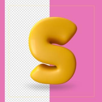 알파벳 문자 s의 3d 렌더링