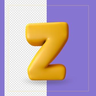 알파벳 문자 z의 3d 렌더링