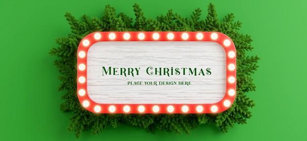 3d визуализация рекламного щита с украшением рождественской ветки для демонстрации вашего продукта