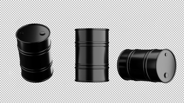 透明な背景、クリッピングパス上の黒い石油バレルの3dレンダリング