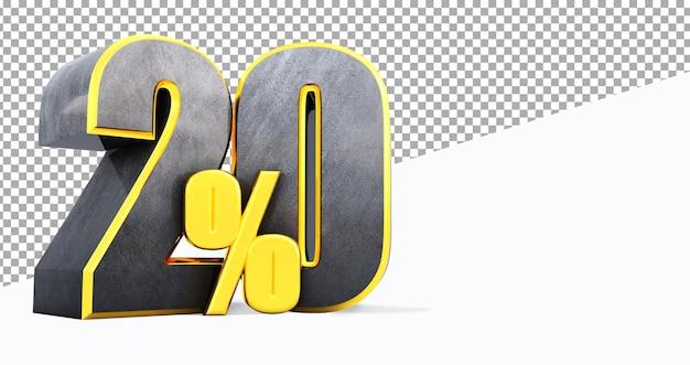 3d визуализация черного двадцать процентов изолированные