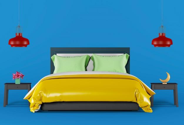 装飾と青いスタジオインテリア寝室の3 dレンダリング。