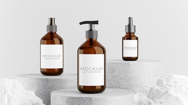 3d-рендеринг упаковки для бутылок с бетонным подиумом, камнем для демонстрации вашего продукта