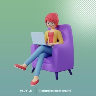 3d визуализация персонажа из мультфильма, работающего на ноутбуке