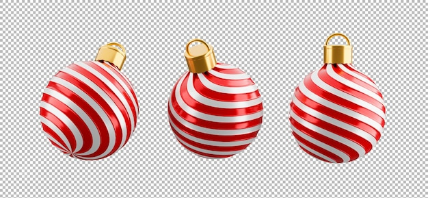 透明な背景、クリッピングパス上のクリスマスボールの3dレンダリング